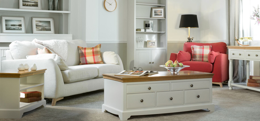 Oxford Living Room Painted Furniture In Cotton White